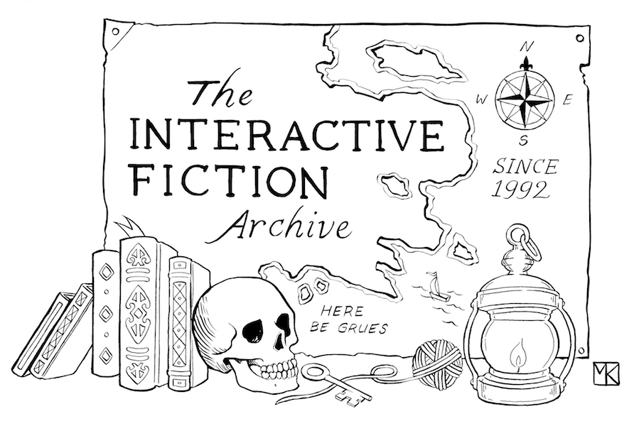 A map labeled 'The Interactive Fiction Archive - Since 1992', surrounded by books, a lantern, a ball of twine, and other bric-a-brac